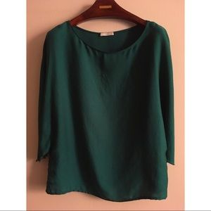 PROMOD Formal Silk Blouse Green Round Crew Neck
